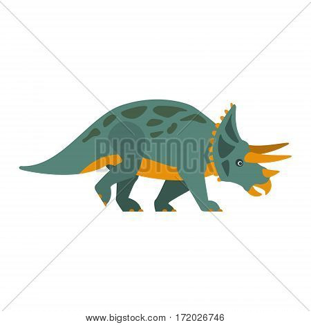 Triceratops Dinosaur Of Jurassic Period, Prehistoric Extinct Giant Reptile Cartoon Realistic Animal. Simplified Dinosaur Species Vector Illustration With Recognizable Details Of Ancient Fauna.