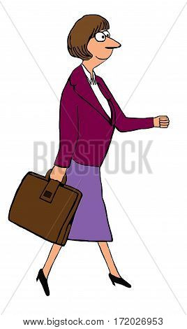 Color illustration of smiling woman wearing a business suit and walking in a determined manner.