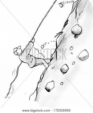 Business illustration of a businessman climbing a steep mountain.