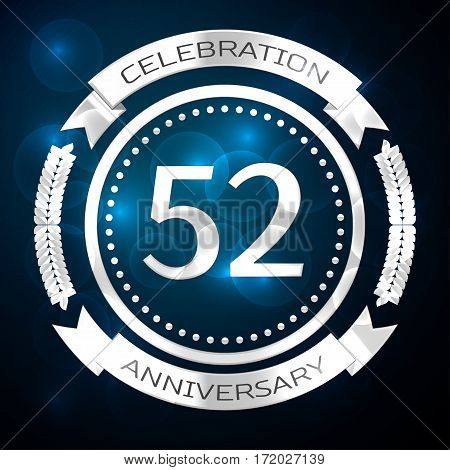 Fifty two years anniversary celebration with silver ring and ribbon on blue background. Vector illustration