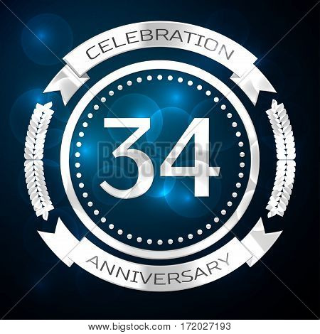 Thirty four years anniversary celebration with silver ring and ribbon on blue background. Vector illustration