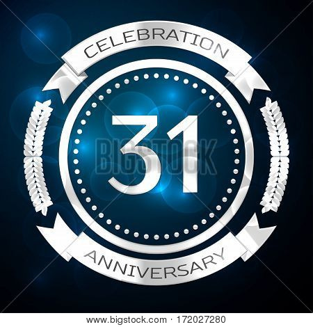 Thirty one years anniversary celebration with silver ring and ribbon on blue background. Vector illustration