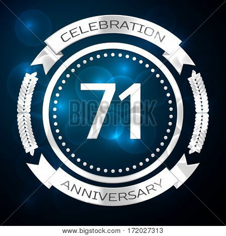 Seventy one years anniversary celebration with silver ring and ribbon on blue background. Vector illustration