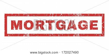 Mortgage text rubber seal stamp watermark. Caption inside rectangular shape with grunge design and scratched texture. Horizontal vector red ink sticker on a white background.