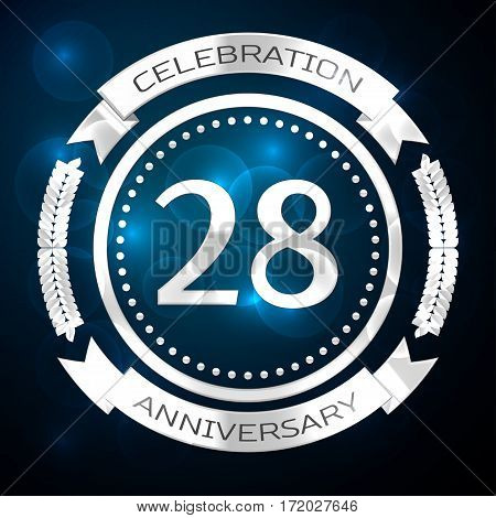 Twenty eight years anniversary celebration with silver ring and ribbon on blue background. Vector illustration