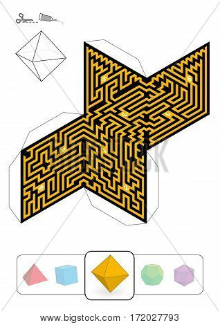 OCTAHEDRON MAZE - template of one of five platonic solid labyrinths - Print on heavy paper, cut it out, make a 3d model and find the right way from 1 to 8.