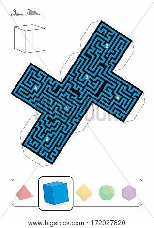 HEXAHEDRON MAZE - template of one of five platonic solid labyrinths - Print on heavy paper, cut it out, make a 3d model and find the right way from 1 to 6.