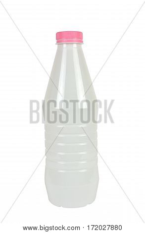 White plastic bottle for milk or milky drinks with pink lid isolated on white