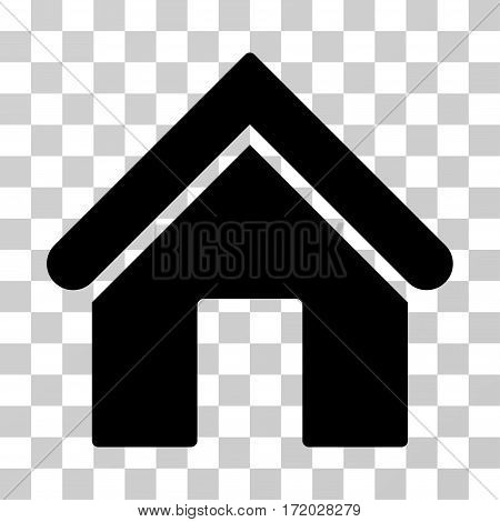 Home vector pictogram. Illustration style is flat iconic black symbol on a transparent background.