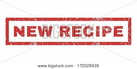 New Recipe text rubber seal stamp watermark. Tag inside rectangular shape with grunge design and dirty texture. Horizontal vector red ink emblem on a white background.
