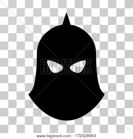 Knight Helmet vector icon. Illustration style is flat iconic black symbol on a transparent background.