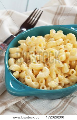 American mac and cheese, macaroni pasta in cheesy sauce
