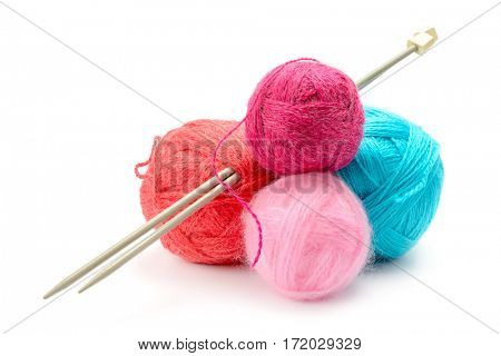Variety of balls of woolen thread isolated on white background