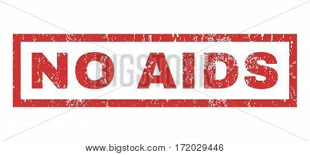 No AIDS text rubber seal stamp watermark. Caption inside rectangular shape with grunge design and scratched texture. Horizontal vector red ink sign on a white background.