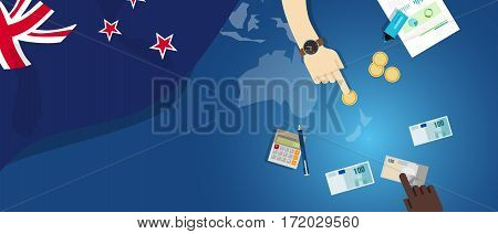 New Zealand economy fiscal money trade concept illustration of financial banking budget with flag map and currency vector