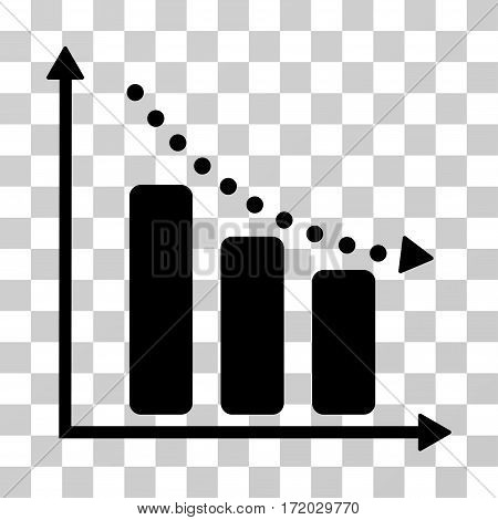 Negative Trend vector pictogram. Illustration style is flat iconic black symbol on a transparent background.