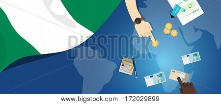 Nigeria economy fiscal money trade concept illustration of financial banking budget with flag map and currency vector