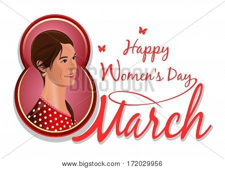 March 8, congratulations to the International Women's Day, pretty, cute, lovely beautiful girl isolated on white background. Cute girl on the background of congratulations on the 8th March