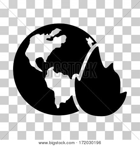 Planet Flame vector pictogram. Illustration style is flat iconic black symbol on a transparent background.