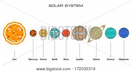 Concept of the Solar System from simple shapes on white background