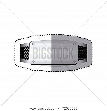 sticker grille perforated frame with metal plate and screws vector illustration