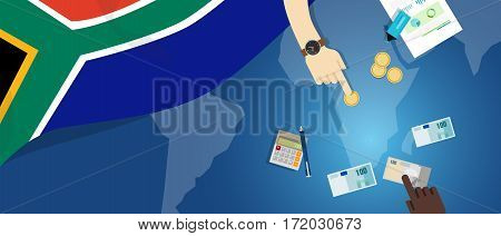 South Africa economy fiscal money trade concept illustration of financial banking budget with flag map and currency vector