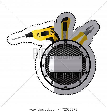 sticker grille perforated with metal plaque and tools vector illustration