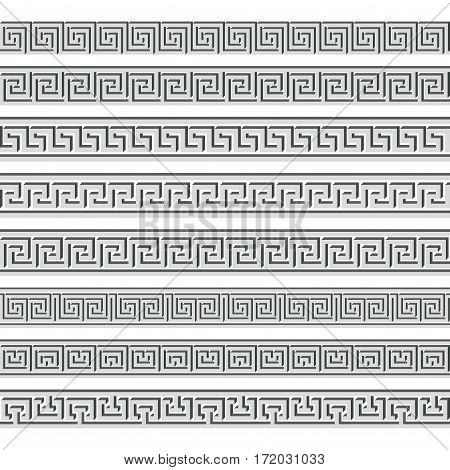 Set of the 3D volume vector Greek ornament isolated on a white background for graphic design.