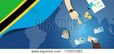 Tanzania economy fiscal money trade concept illustration of financial banking budget with flag map and currency vector