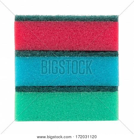 Stacked new sponges isolated on white background