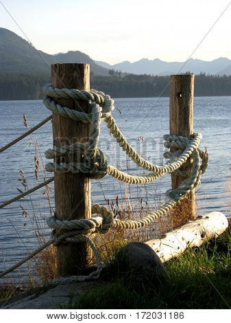 Tranquil Coastal Scene with Posts and Ropes