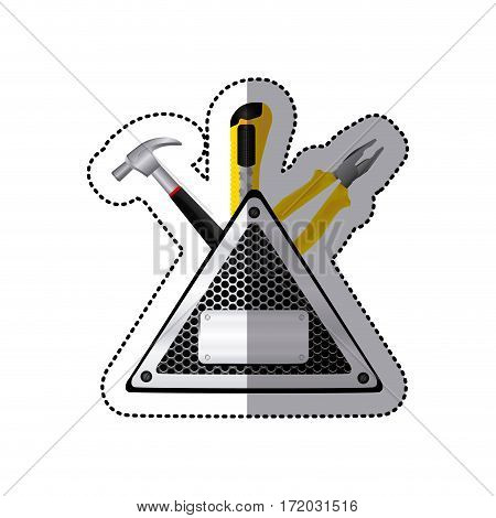 sticker triangle metallic frame with grille perforated and tools vector illustration