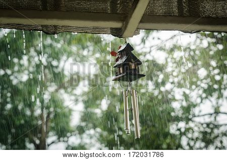 wind chime is wet in rainy day