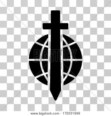 Sword Globe vector pictogram. Illustration style is flat iconic black symbol on a transparent background.