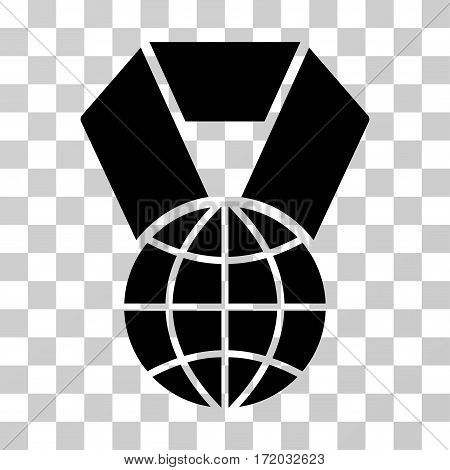World Award vector pictograph. Illustration style is flat iconic black symbol on a transparent background.