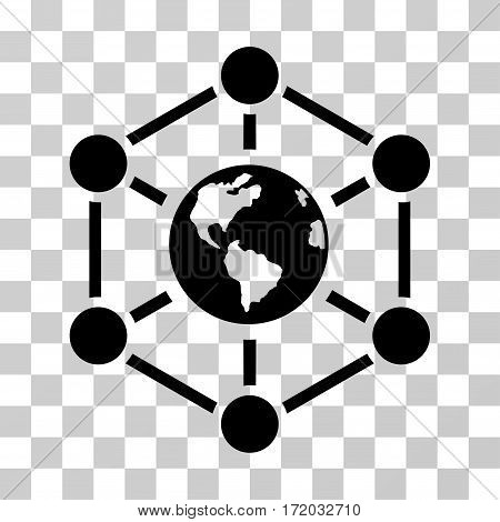 Worldwide Internet vector icon. Illustration style is flat iconic black symbol on a transparent background.