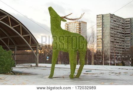 The view of artificial deer in city
