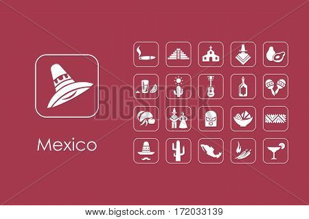 It is a set of Mexico simple web icons