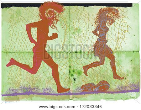 Run punk run - an hand drawn vector. Running bone gentleman and jumping bone lady behind the fence. Freehand sketching. Vector is easy editable in layers and groups.