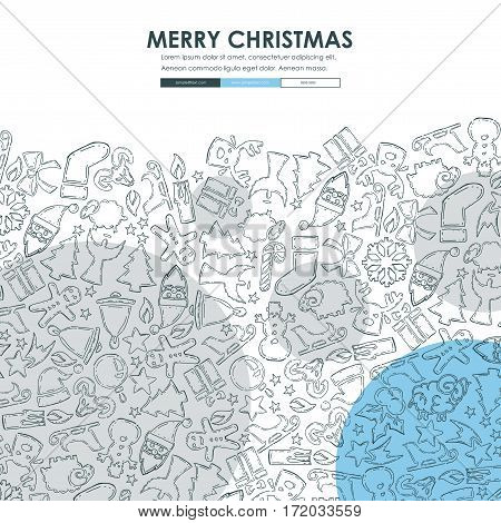 Christmas Website Template Design with Doodle Background