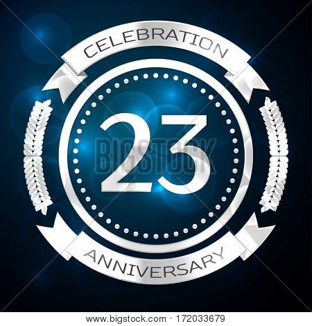 Twenty three years anniversary celebration with silver ring and ribbon on blue background. Vector illustration