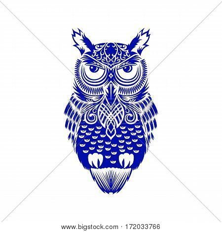Eagle owl. Blue animal tattoo. Ethnic patterned vector. African or indian design. Sketch for tattoo, poster, print or t-shirt.