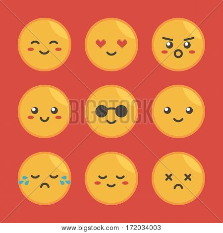 Cute flat design yellow round faces with different expressions, emotions. Set, collection of emoji.