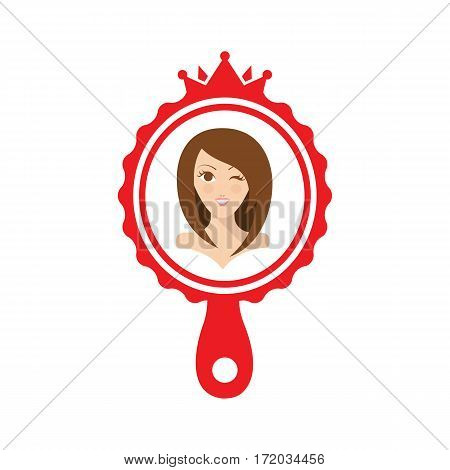 Flat illustration pretty beautiful girl in the red mirror. Woman with long hair and mirror.