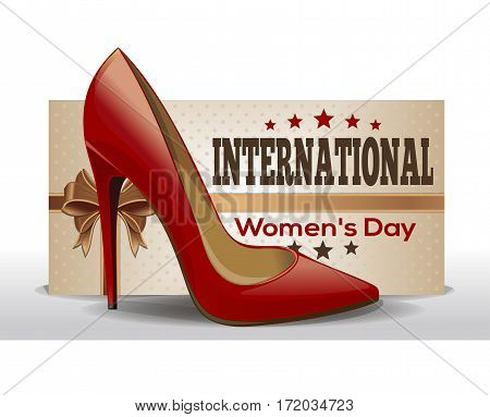 International Women's Day. Retro Style greeting card. 8th March. Vector vintage flyer template for Women's Day
