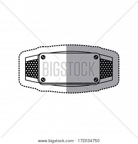 sticker silhouette grille perforated frame with metal plate and screws vector illustration