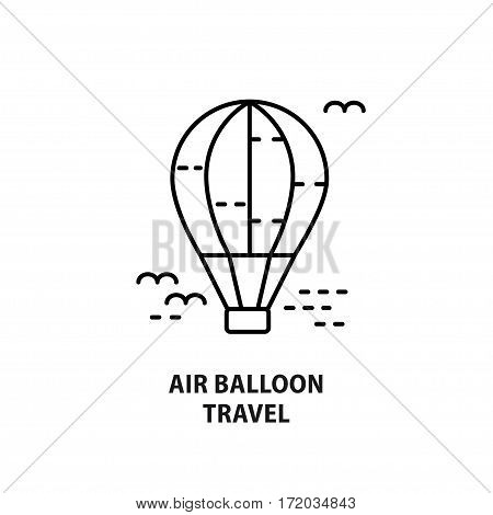 Vector logo design with air balloon isolated on white. Design concept for eco tourism in line style