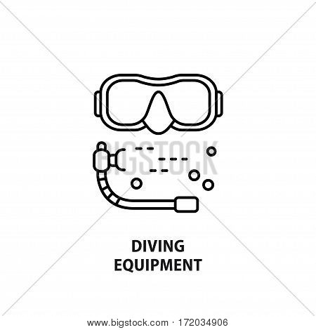 Vector logo with snorkel mask isolated on white. Design concept for snorkel gear and shop for diving equipment in line style