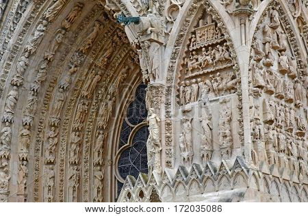 Reims France - july 25 2016 : the Notre Dame cathedral where the kings of France were crowned