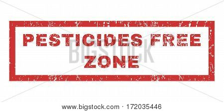 Pesticides Free Zone text rubber seal stamp watermark. Tag inside rectangular shape with grunge design and dust texture. Horizontal vector red ink sticker on a white background.